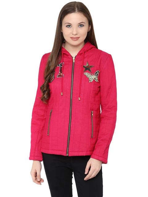 Front Zip Hooded Jacket In Solid Fuchsia Color With Patch Motifs On The Front /JKF450227
