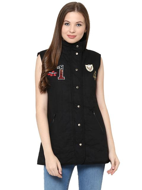 Front Button Down Solid Black Quilted Jacket With A High Neck And Patch Motifs On The Front /JKF450221