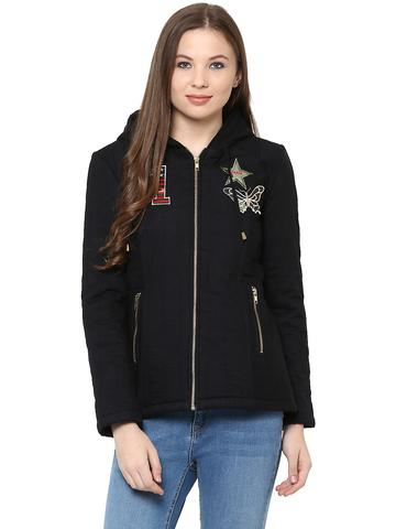 Front Zip Hooded Jacket In Solid Black Color With Patch Motifs On The Front /JKF450228