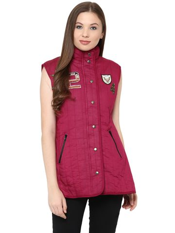 Front Button Down Solid Marsala Quilted Jacket With A High Neck And Patch Motifs On The Front /JKF450222