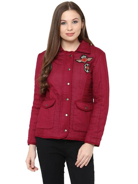 Front Zip Solid Magenta Quilted Jacket With A Collar Neck And Patch Motifs On The Front /JKF450229