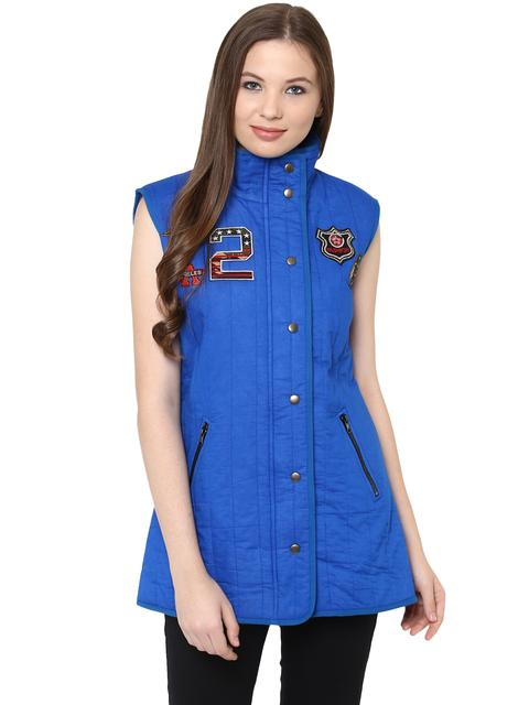 Front Button Down Solid Blue Quilted Jacket With A High Neck And Patch Motifs On The Front /JKF450223