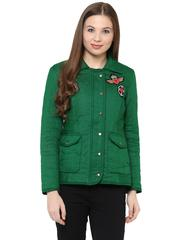 Front Zip Solid Olive Green Quilted Jacket With A Collar Neck And Patch Motifs On The Front /JKF450231