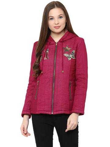 Front Zip Hooded Jacket In Solid Marsala Color With Patch Motifs On The Front /JKF450226