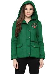 Front Zip Solid Green Quilted Jacket With Flap Pockets And Patch Motifs On The Front /JKF450234