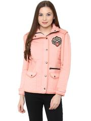 Front Zip Solid Peach Quilted Jacket With Flap Pockets And Patch Motifs On The Front /JKF450235