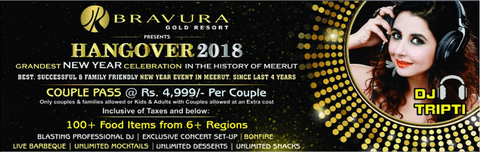 GRANDEST NEW YEAR CELEBRATION (HANGOVER - 2018) Hotel Bravura Gold Resort,Partapur, Meerut, Uttar Pradesh, India