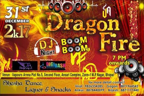 DJ NIGHT PARTY on 31st December 2017@ Vapour's arena cafe & Lounge, Bhopal