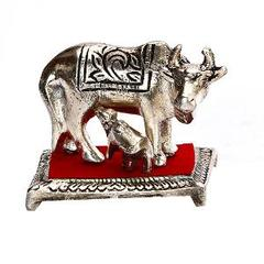 Purpledip White Metal Cow with Calf Statue, Indian gift ideas (10169)