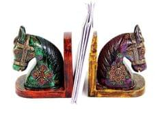 Purpledip handpainted wooden Horse shaped bookends (10258)