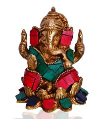 Purpledip Ganesha Statue (Seated on Lotus Flower) in Antique Style: Designed on Brass with Coloured Gemstones (10529)