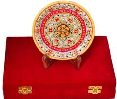 Purpledip Handpainted Marble plate with wooden stand in a classy Velvet box (10559)