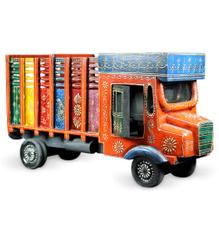 Purpledip Miniature Indian Truck Wooden with Slots to Storing Bottles Indian Souvenir(10650)