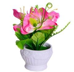 Purpledip Flower Vase with Artificial Flowers for Table Top (10654)