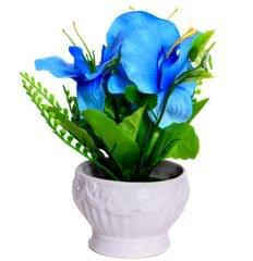 Purpledip Flower Vase with Artificial Flowers for Table Top (10655)