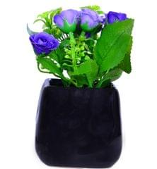 Purpledip Flower Vase with Artificial Flowers for Table Top (10656)