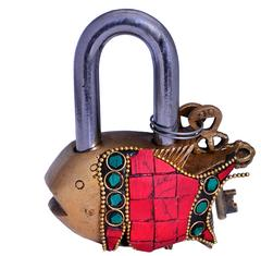 Purpledip Fish Shaped Brass Padlock With Colorful Gemstone Work (10663)