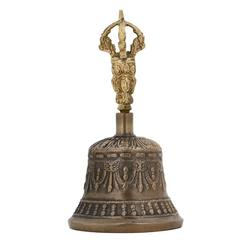 Purpledip Spiritual Buddhist Tibetan Brass Bell with Dorje Handle (10680)