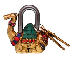 Purpledip Camel Shaped Brass Padlock : Handmade Antique Design With Colorful Gemstone Work (10685)