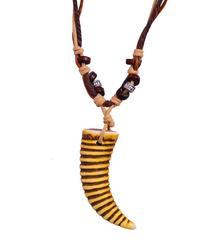 """Purpledip Necklace Chain """"Tiger Tooth"""": Unique Pendant With Adjustable Cotton Cord (30054)"""