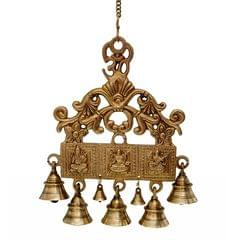 Brass Wall Hanging With Bells Of Lakshmi Ganesh Saraswati, Unique Indian Décor (10721)