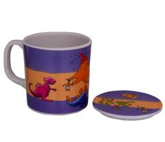 Purpledip Children's Mug With Lid Cover: For Kids In High Quality Plastic Cute Dinosaurs (10723a)