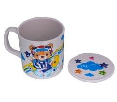 Purpledip Children's Mug With Lid Cover: For Kids In High Quality Plastic Cute Dinosaurs (10723e)