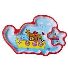 Purpledip Serving Tray Plate In High Quality Plastic For Kids, Children;  Multicolour, Unique Star Cloud Design (10725)