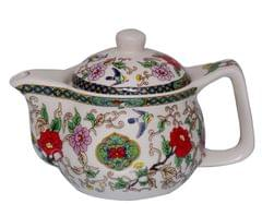 Purpledip Beautifully Painted Ceramic Kettle, Small Kettle for 1 Cup of Tea, Steel Strainer Included (10730)