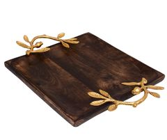 Purpledip Artisan Crafted Square Rustic Wooden Tray With Golden Color Handle For Serving Snacks, Glasses; Unique Design (10735)