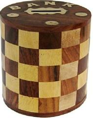 Purpledip Wooden Money Bank In Vintage Design: For Saving Currency Notes Or Coins 10740