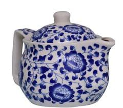Purpledip Beautifully Painted Ceramic Kettle, Small Kettle for 1 Cup of Tea, Steel Strainer Included (10729)