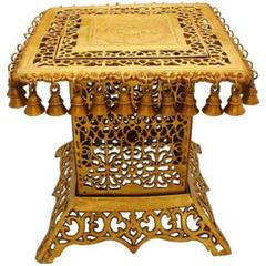 Pure Brass Stool, Pedestal Side Table for living room Indian Ethnic Furniture Brass Table Indian Stool Side Table   (10804)