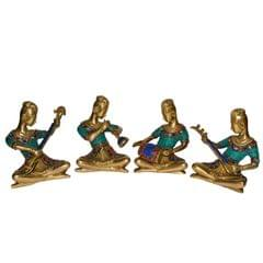 Set of 4 folk musicians 6 inch Pure brass with gemstonework Statues Showpieces Brass statues Table Decor Handcrafted Indian Gift                         (10800)