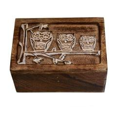 Purpledip Wooden Jewellery Box 'Three Wise Owls': Rustic Distress Finish Unique Gift For Girls (10790)