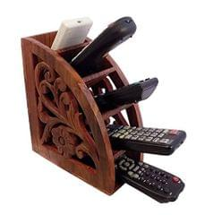 Purpledip Carved Wooden Remote Control Holder Organizer With 5 Slots (10933)