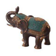 Purpledip Brass Elephant Statue Idol In Unique Green Polish And Golden Adornments: Feng Shui Good Luck Symbol (10965)