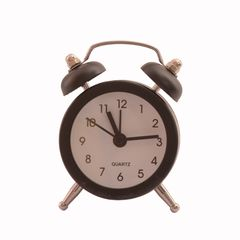 Purpledip Small Table Alarm Clock with Ringing Bell: Small Portable Size, Black Color (11025)