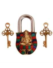 Purpledip Brass Lock Padlock Ganesha: Antique Design With Colorful Gemstones; Unique Collectible Combination Of Beauty & Security With Religious Significance (11093)