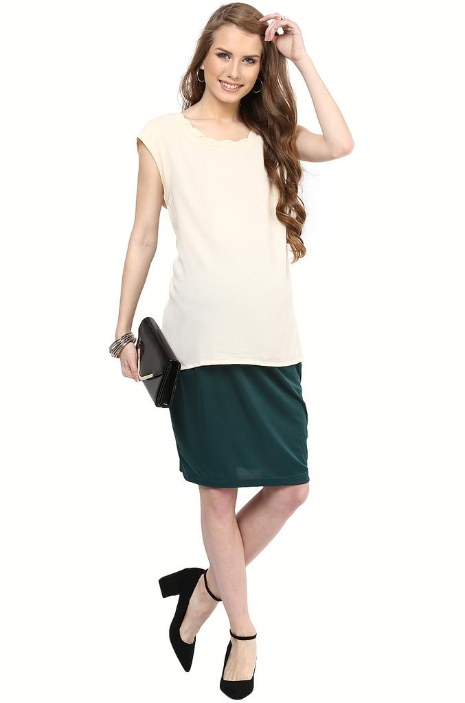 Bottle Green Maternity Skirt