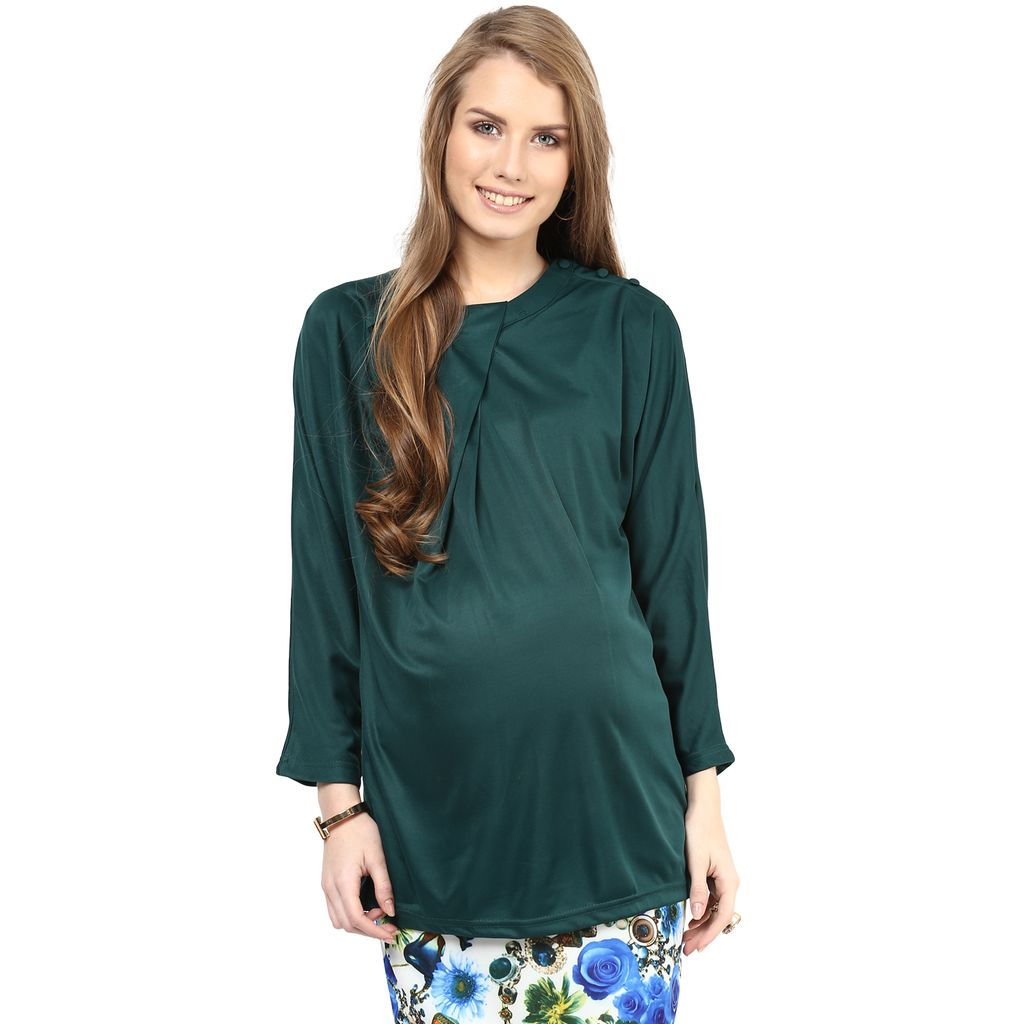 Trendy Bottle Green Maternity Top
