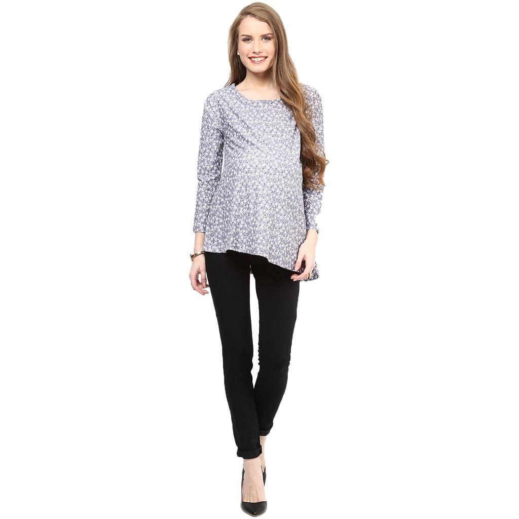 Must Have Grey Printed Maternity Top