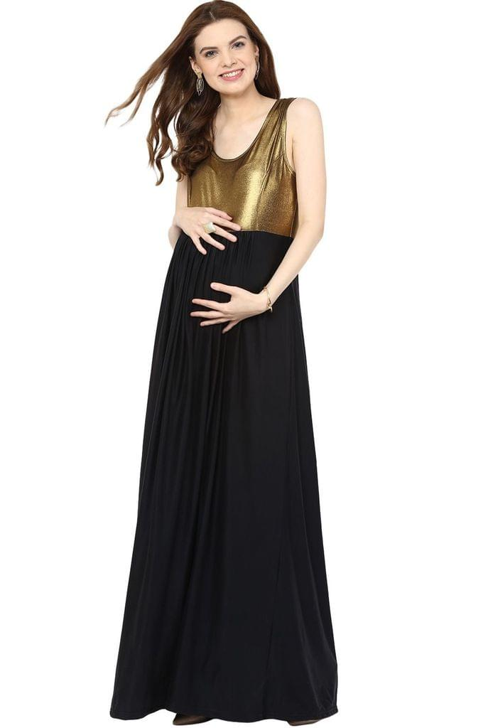 Gold & Black Maternity Dress