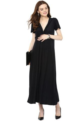 Long Black Front Knotted Maternity Dress