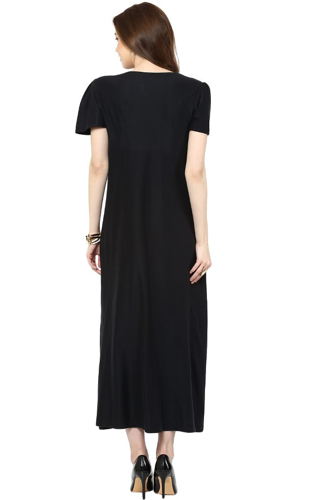 Black Long Front Knotted Maternity Dress