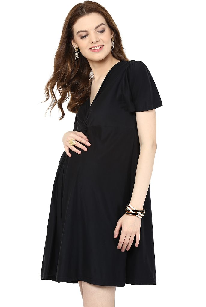 Little Black Maternity Dress Knotted