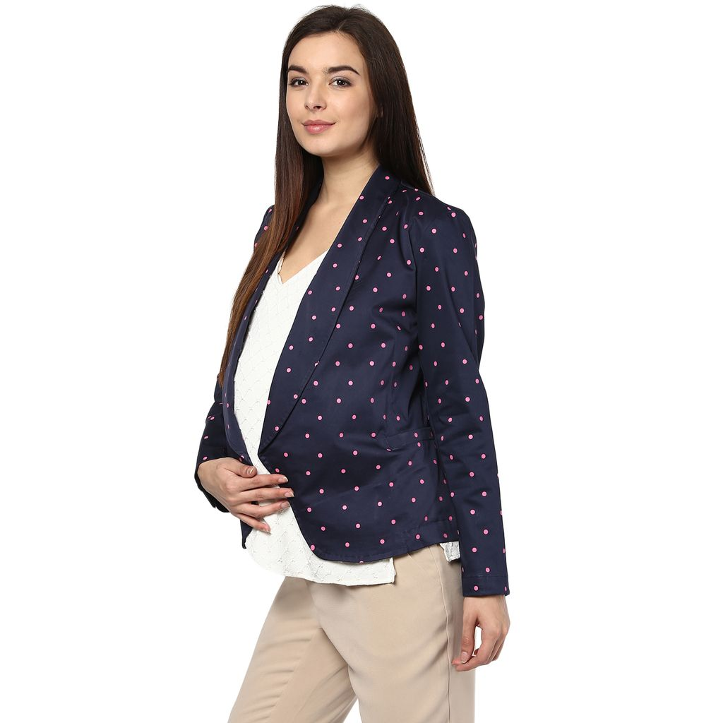 The Maternity Day Jacket Blue and Pink