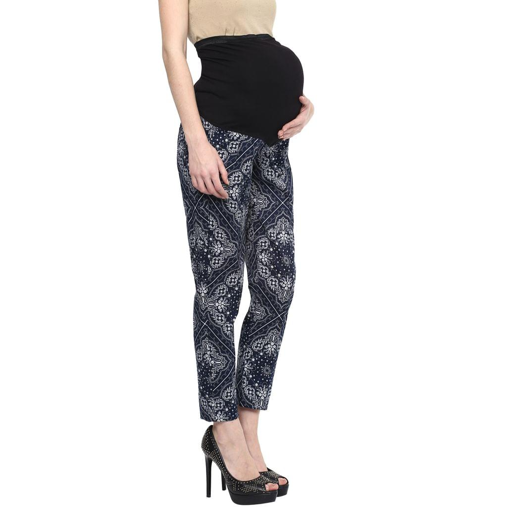 Maternity Navy Printed Pants