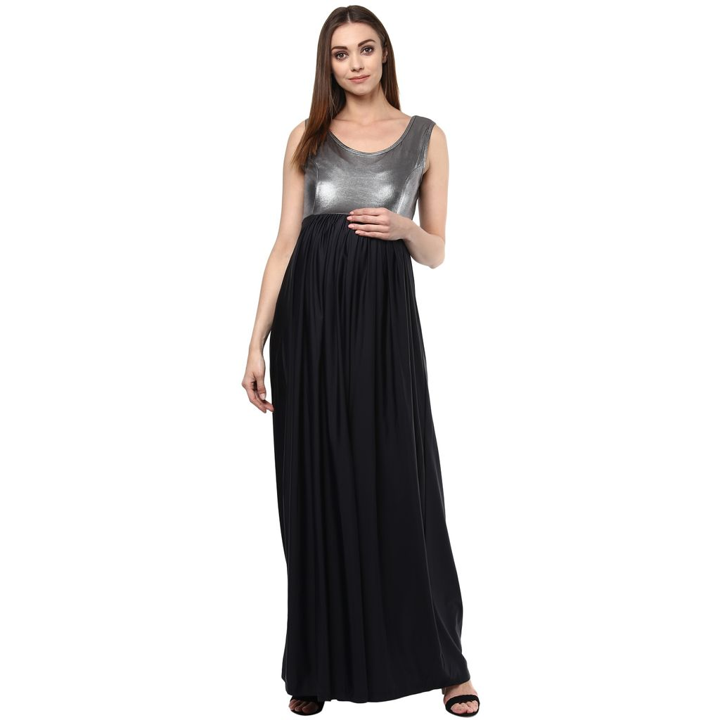 The Silver & Black Maternity Evening Gown