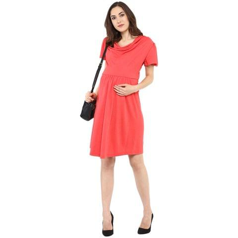 Coral Cowl Neck Dress
